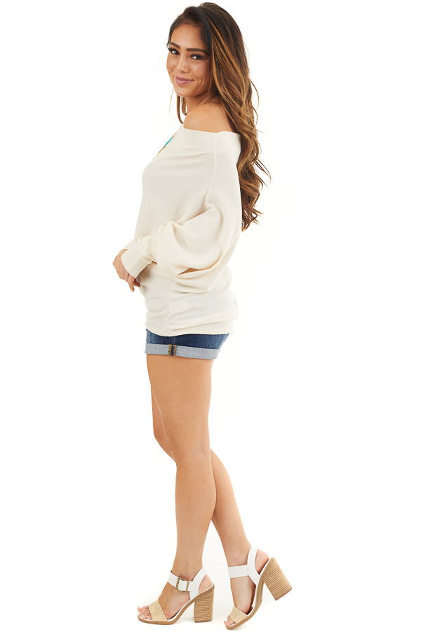 Cream Off the Shoulder Waffle Knit Top with Dolman Sleeves side full body