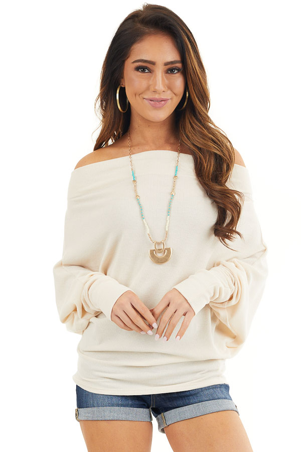 Cream Off the Shoulder Waffle Knit Top with Dolman Sleeves front close up