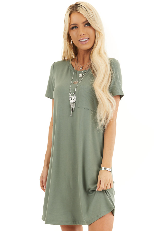 Olive Green Soft Knit Mini Dress with Short Sleeves front close up
