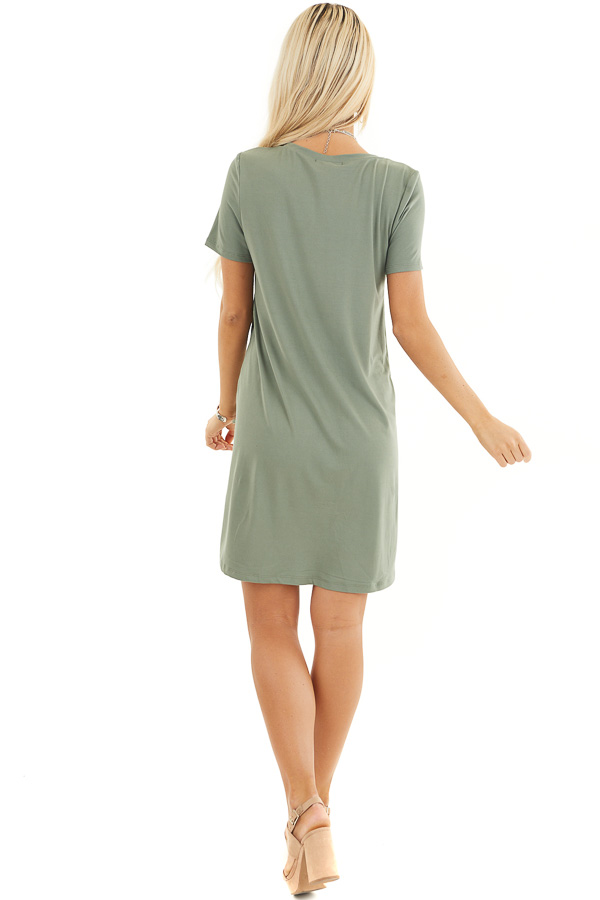 Olive Green Soft Knit Mini Dress with Short Sleeves back full body