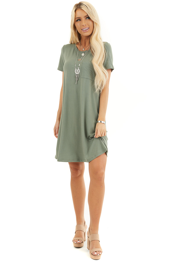 Olive Green Soft Knit Mini Dress with Short Sleeves front full body
