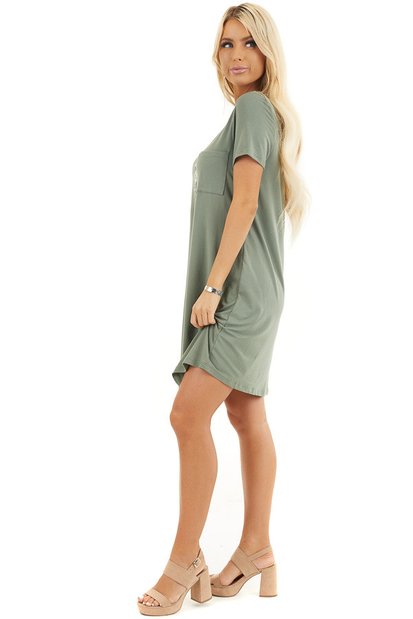 Olive Green Soft Knit Mini Dress with Short Sleeves side full body