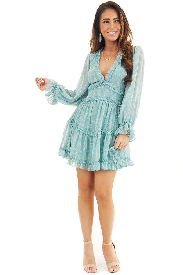 Seafoam Floral Dress with Tiered Skirt and Ruffle Detail front full body