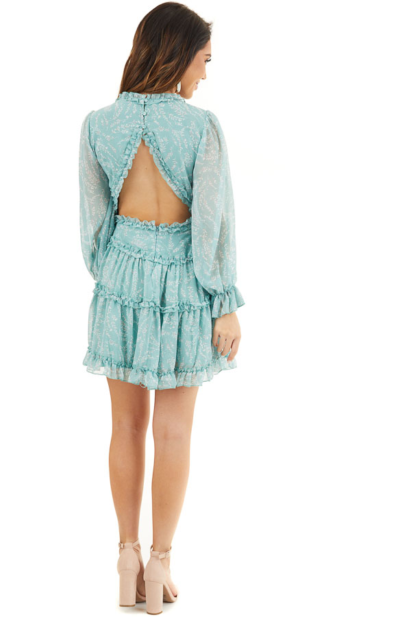 Seafoam Floral Dress with Tiered Skirt and Ruffle Detail back full body