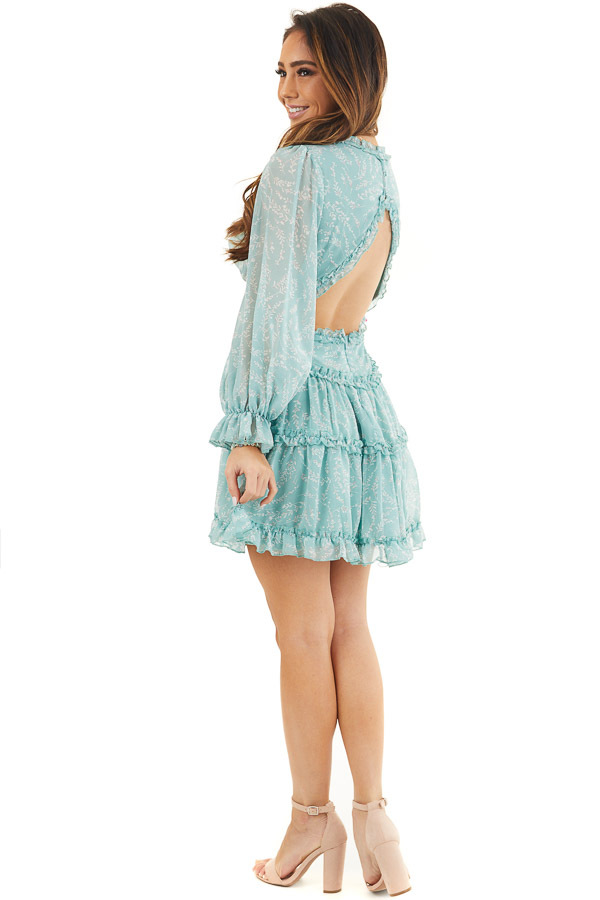 Seafoam Floral Dress with Tiered Skirt and Ruffle Detail side full body
