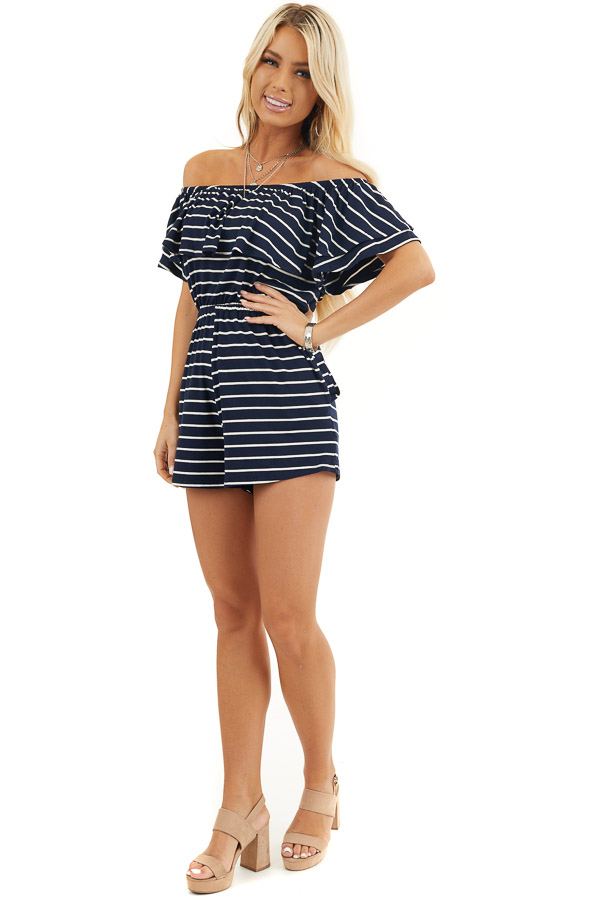 Navy and Ivory Off the Shoulder Romper with Ruffle Overlay front full body