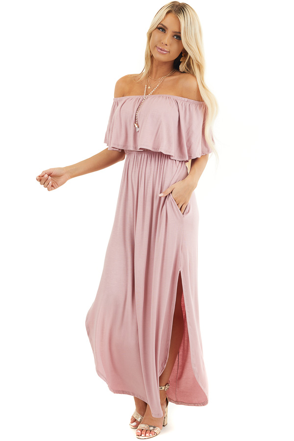Dusty Rose Off the Shoulder Maxi Dress with Side Pockets front full body