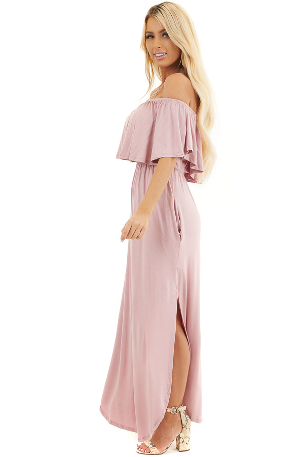 Dusty Rose Off the Shoulder Maxi Dress with Side Pockets side full body