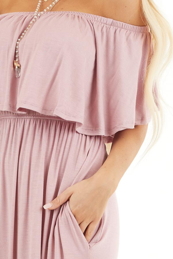 Dusty Rose Off the Shoulder Maxi Dress with Side Pockets detail