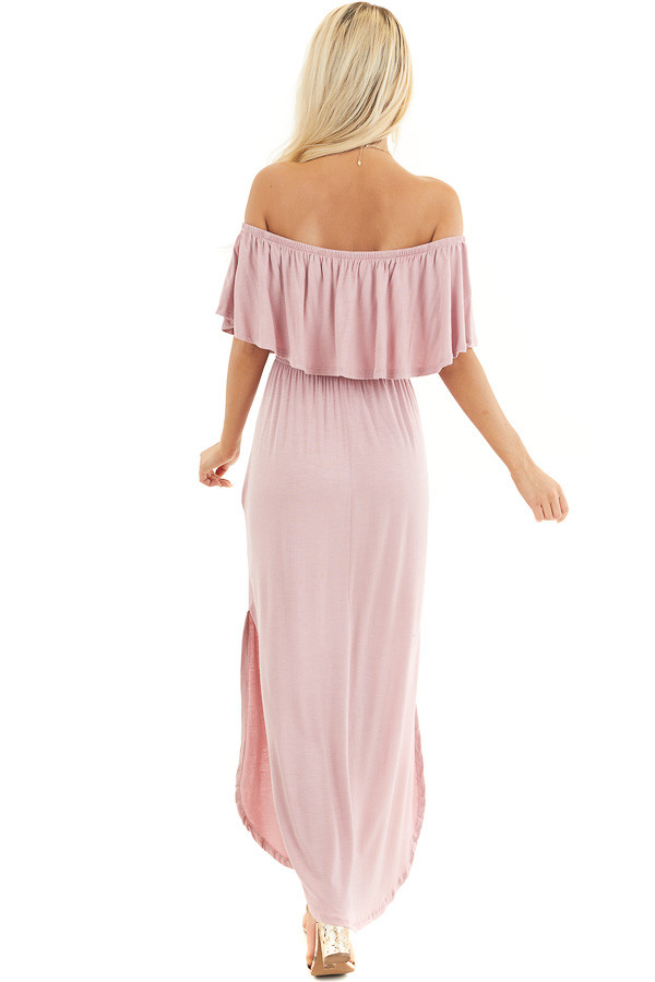 Dusty Rose Off the Shoulder Maxi Dress with Side Pockets back full body