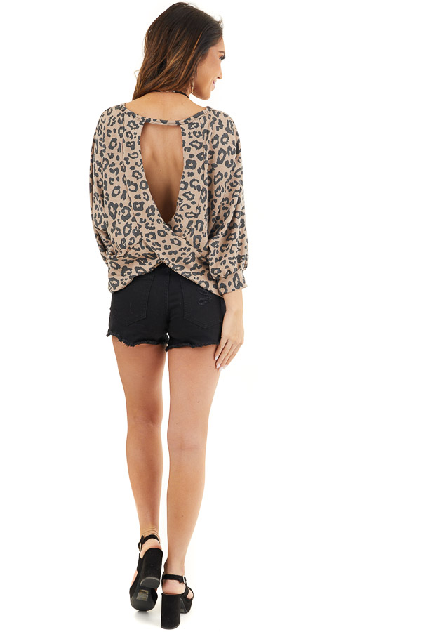 Mocha and Charcoal Leopard Print Top with Open Back Detail back full body