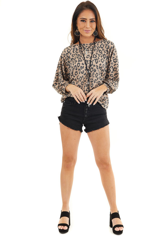 Mocha and Charcoal Leopard Print Top with Open Back Detail front full body