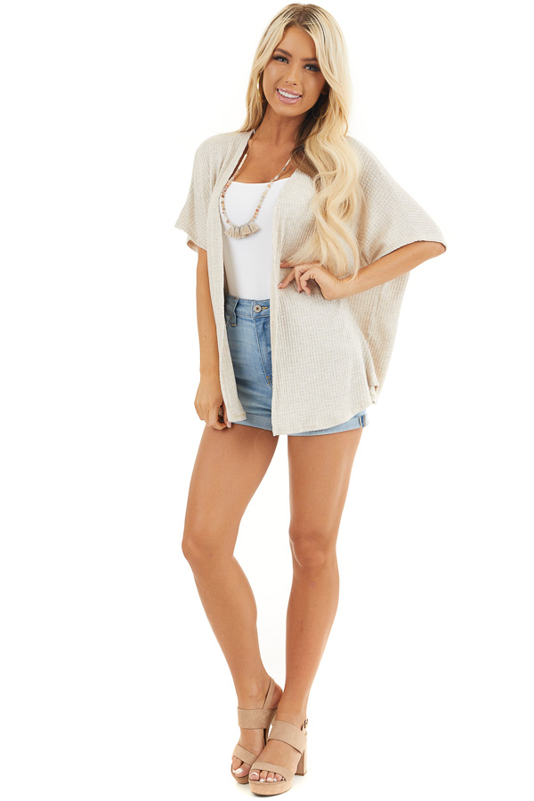 Oatmeal Short Sleeve Open Front Waffle Knit Cardigan front full body