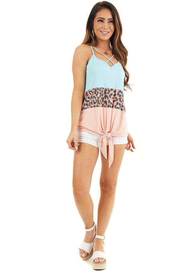 Sky Blue and Peach Leopard Print Criss Cross Knit Tank Top front full body