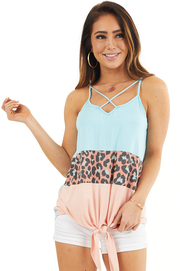 Sky Blue and Peach Leopard Print Criss Cross Knit Tank Top front close up