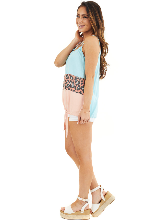 Sky Blue and Peach Leopard Print Criss Cross Knit Tank Top side full body