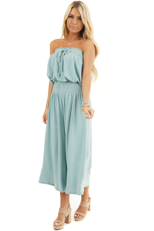Sage Strapless Knit Jumpsuit with Smocked Details and Tie front full body
