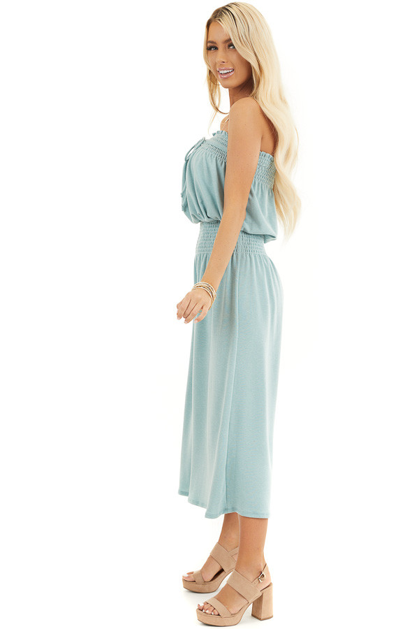 Sage Strapless Knit Jumpsuit with Smocked Details and Tie side full body