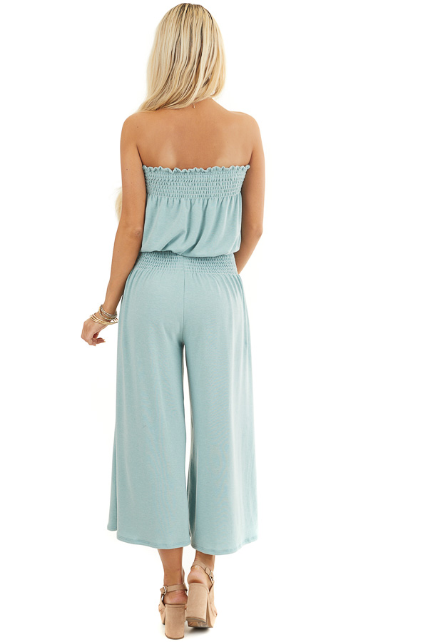 Sage Strapless Knit Jumpsuit with Smocked Details and Tie back full body