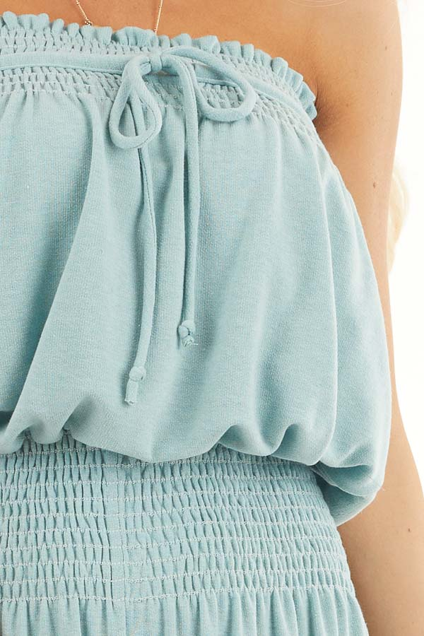 Sage Strapless Knit Jumpsuit with Smocked Details and Tie detail