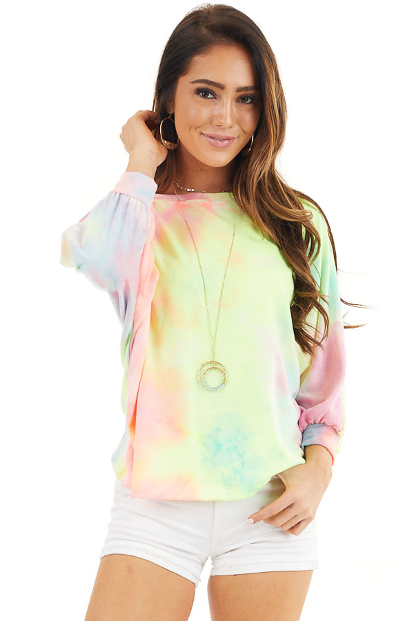 Multicolor Tie Dye Open Back Top with Dolman Sleeves front close up