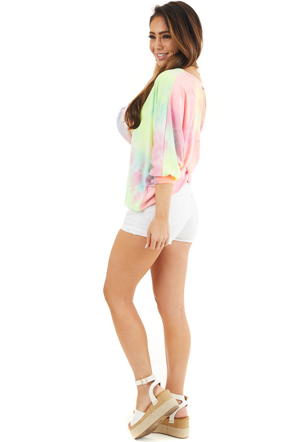 Multicolor Tie Dye Open Back Top with Dolman Sleeves side full body