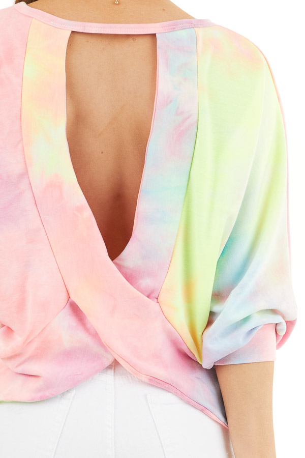 Multicolor Tie Dye Open Back Top with Dolman Sleeves detail