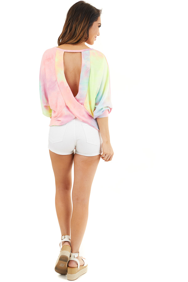 Multicolor Tie Dye Open Back Top with Dolman Sleeves back full body