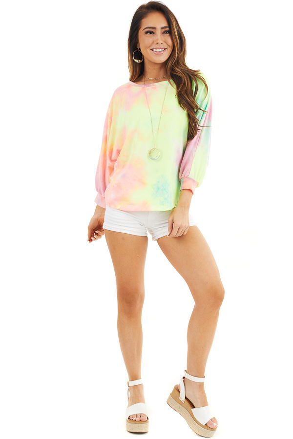 Multicolor Tie Dye Open Back Top with Dolman Sleeves front full body
