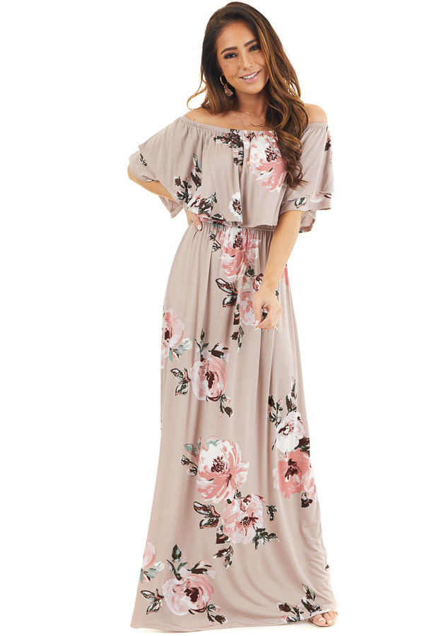 Faded Mauve Floral Print Layered Off the Shoulder Maxi Dress front full body