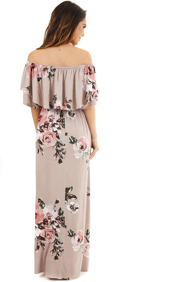 Faded Mauve Floral Print Layered Off the Shoulder Maxi Dress back full body