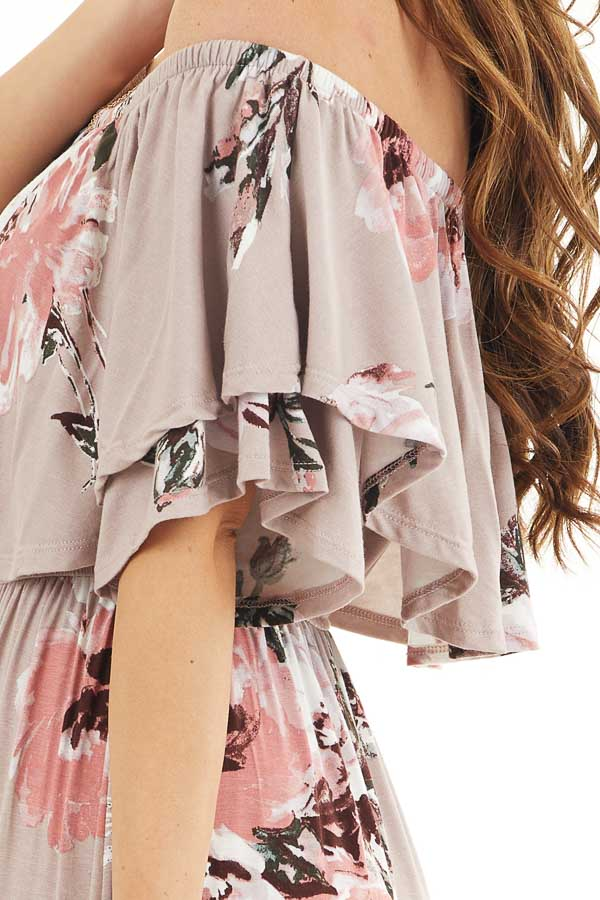 Faded Mauve Floral Print Layered Off the Shoulder Maxi Dress detail