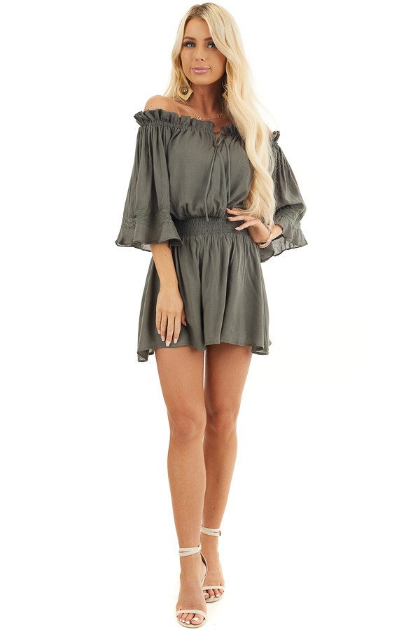 Hunter Green Off the Shoulder Ruffle Romper with Tie front full body