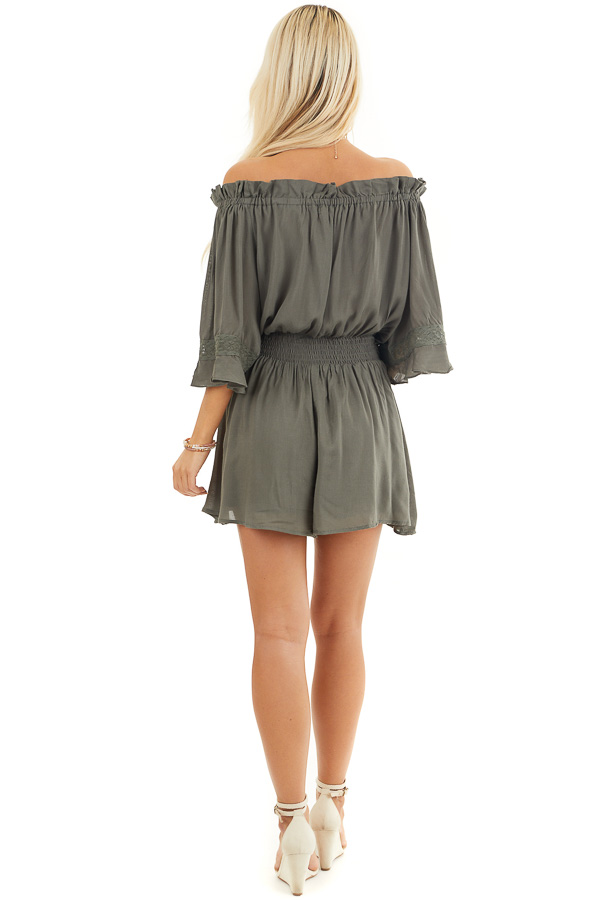 Hunter Green Off the Shoulder Ruffle Romper with Tie back full body