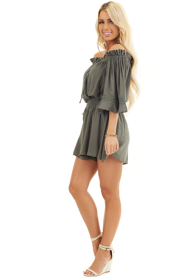 Hunter Green Off the Shoulder Ruffle Romper with Tie side full body