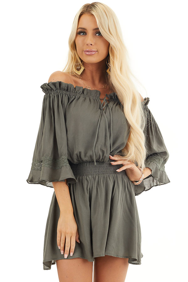 Hunter Green Off the Shoulder Ruffle Romper with Tie front close up