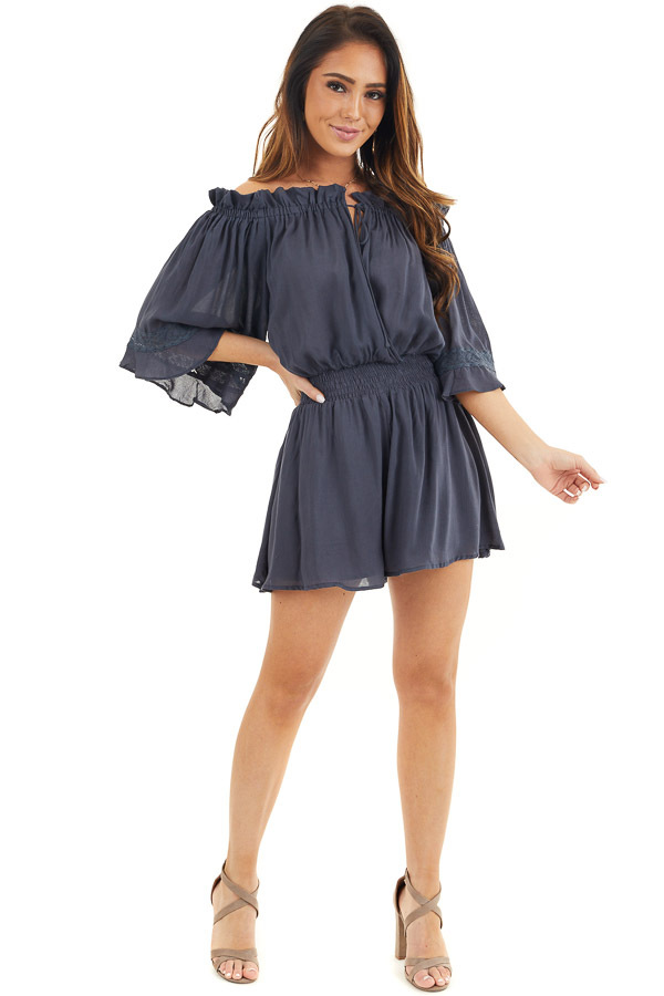 Navy Blue Off the Shoulder Ruffle Romper with Tie front full body