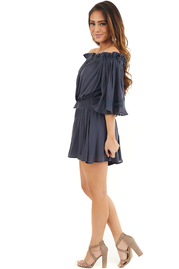 Navy Blue Off the Shoulder Ruffle Romper with Tie side full body