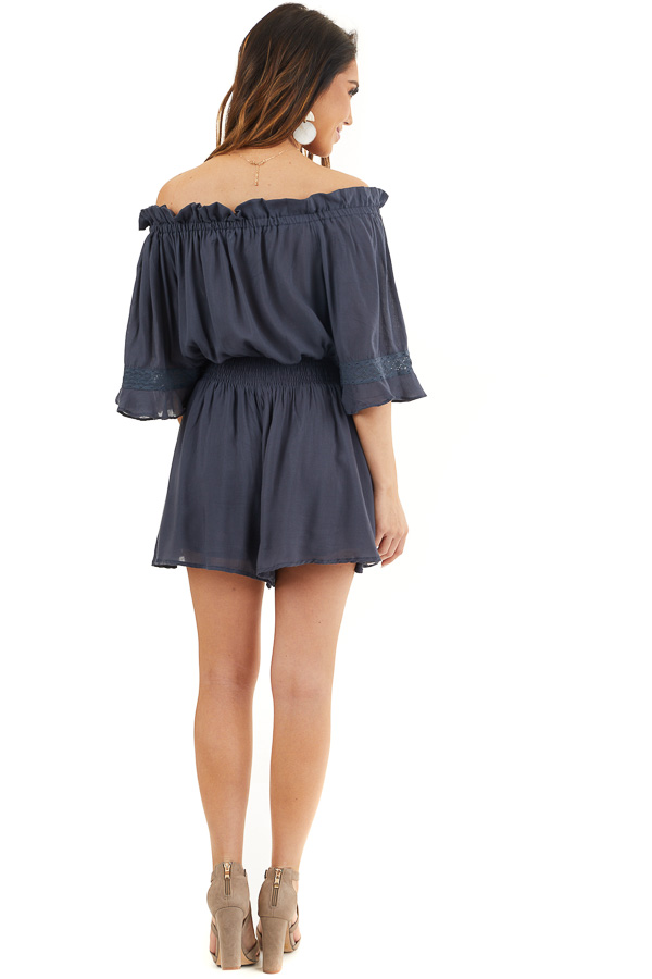 Navy Blue Off the Shoulder Ruffle Romper with Tie back full body