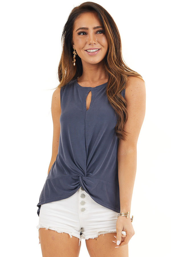 Stormy Blue Sleeveless Tank Top with Twist and Cutout Detail front close up
