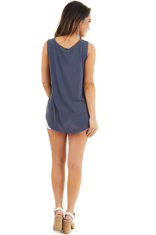 Stormy Blue Sleeveless Tank Top with Twist and Cutout Detail back full body