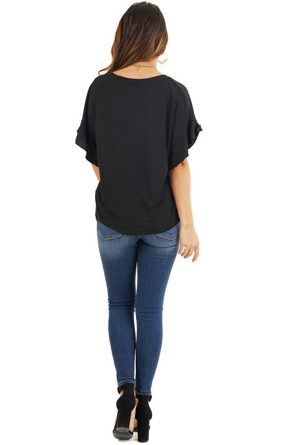 Black V Neck Knit Top with Short Sleeves and Ruffle Details back full body