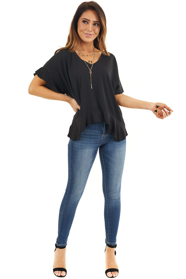 Black V Neck Knit Top with Short Sleeves and Ruffle Details front full body