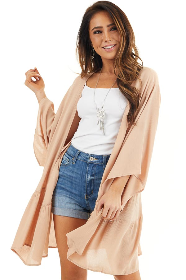 Desert Sand Opened Front Kimono with Rounded Ruffle Hemline front close up