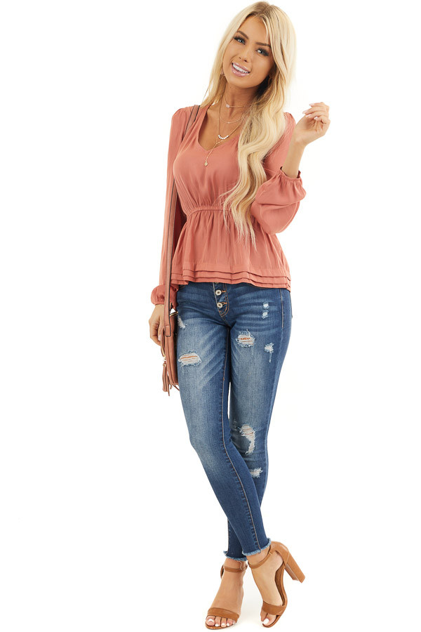 Deep Salmon Drop Waist Woven Top with Long Sleeves front full body