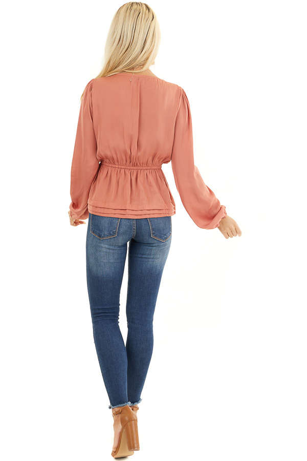 Deep Salmon Drop Waist Woven Top with Long Sleeves back full body