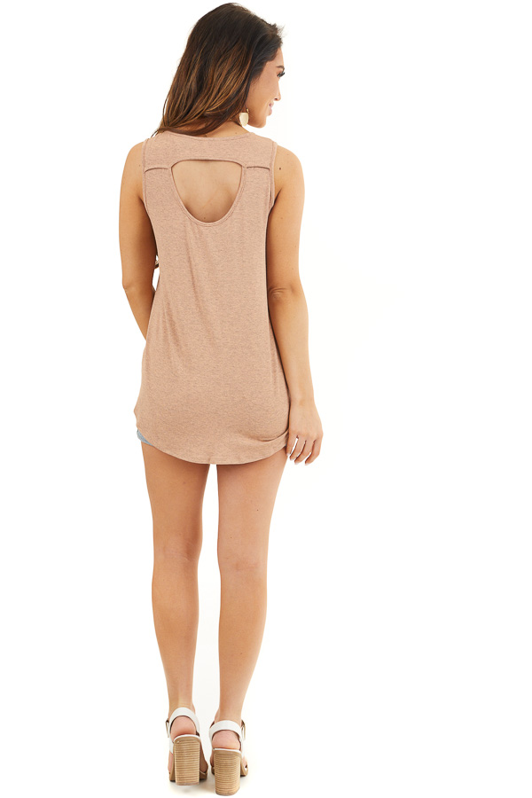 Dusty Rose Knit Tank Top with V Neckline and Back Cutout back full body