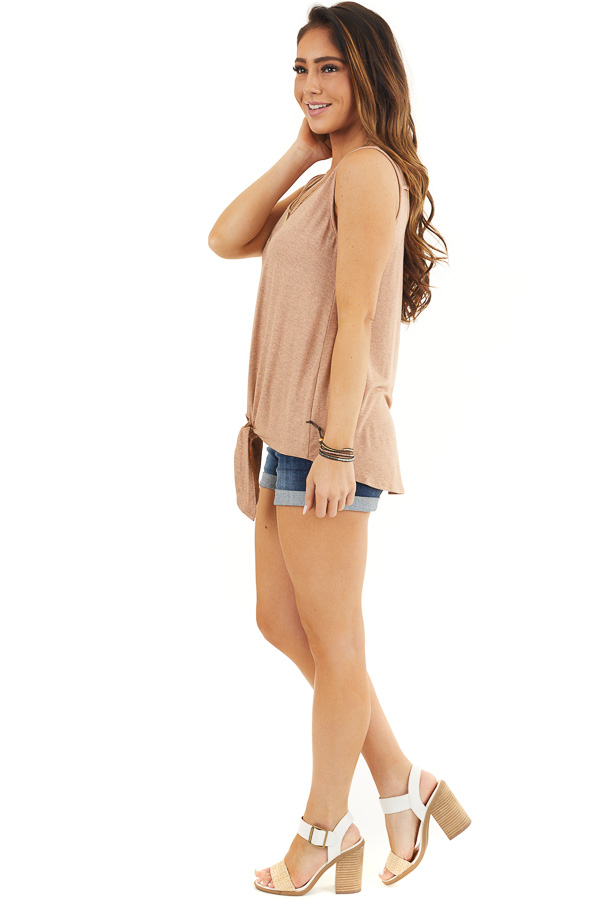 Dusty Rose Knit Tank Top with V Neckline and Back Cutout side full body