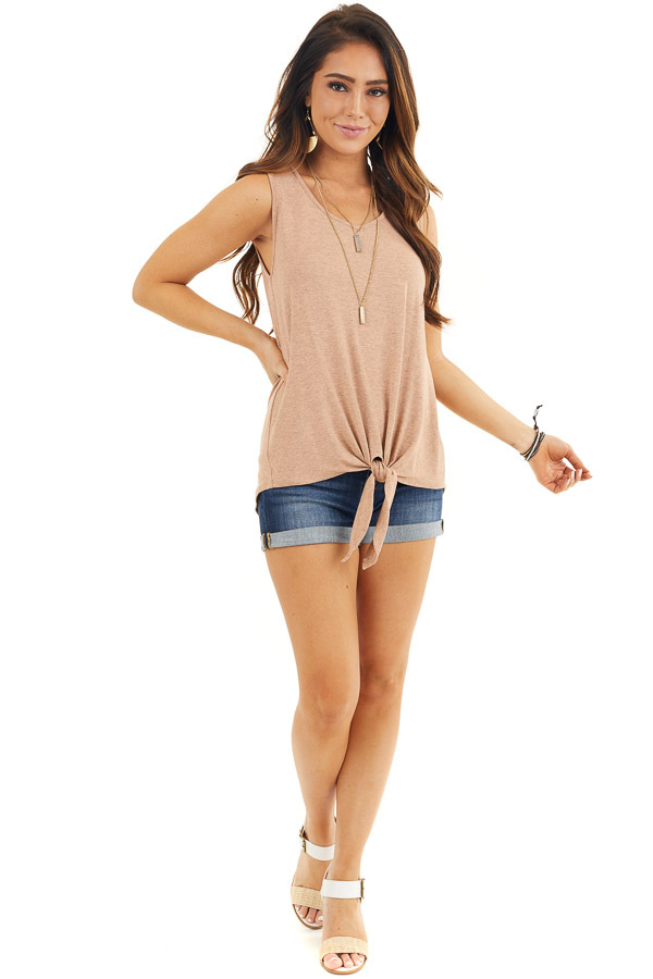Dusty Rose Knit Tank Top with V Neckline and Back Cutout front full body