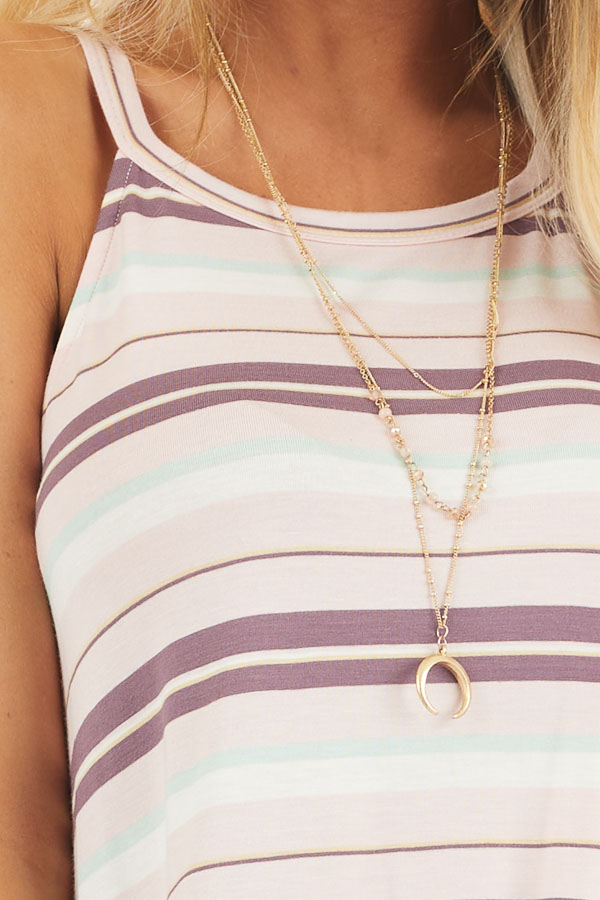 Pale Pink and Mint Striped Knit Tank Top with High Neckline detail